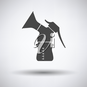 Breast pump icon on gray background, round shadow. Vector illustration.
