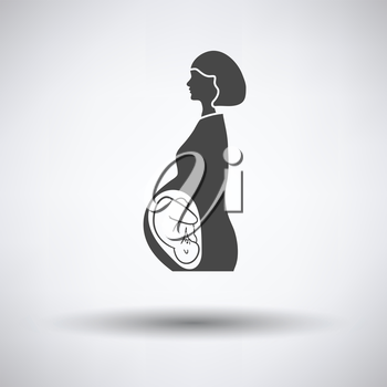 Pregnant woman with baby icon on gray background, round shadow. Vector illustration.