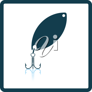 Icon of Fishing spoon. Shadow reflection design. Vector illustration.