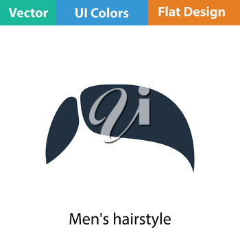 Men's hairstyle icon. Flat color design. Vector illustration.