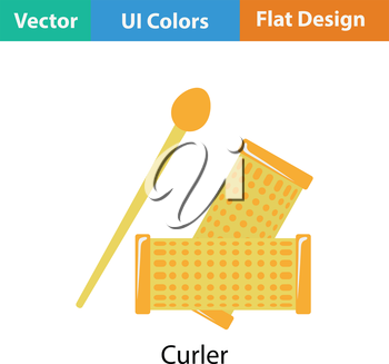Hair curlers icon. Flat color design. Vector illustration.
