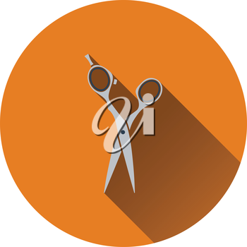 Hair scissors icon. Flat color design. Vector illustration.
