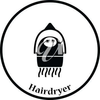Hairdryer icon. Thin circle design. Vector illustration.