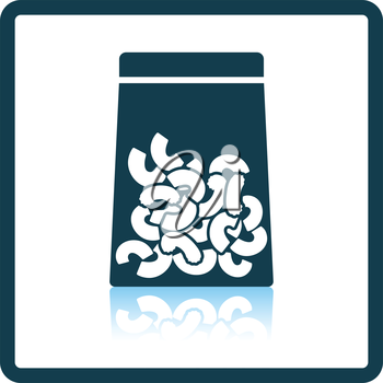 Macaroni package icon. Shadow reflection design. Vector illustration.