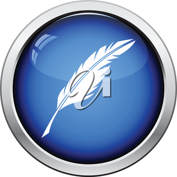 Writing feather icon. Glossy button design. Vector illustration.