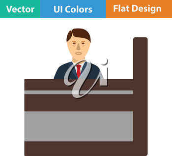 Bank clerk icon. Flat color design. Vector illustration.