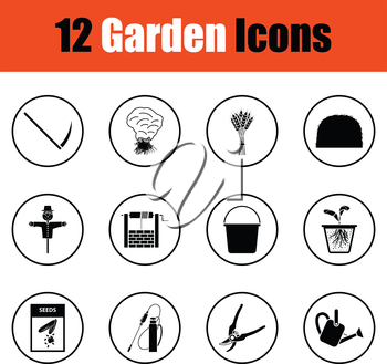 Set of gardening icons.  Thin circle design. Vector illustration.