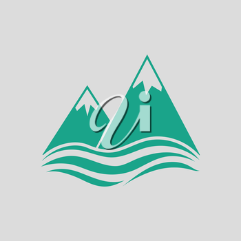 Snow peaks cliff on sea icon. Gray background with green. Vector illustration.