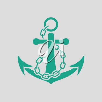 Sea anchor with chain icon. Gray background with green. Vector illustration.