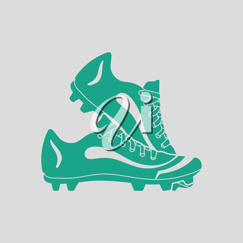 Baseball boot icon. Gray background with green. Vector illustration.