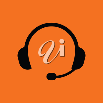 Headset icon. Orange background with black. Vector illustration.