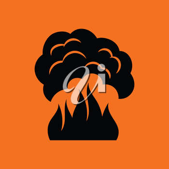 Fire and smoke icon. Orange background with black. Vector illustration.
