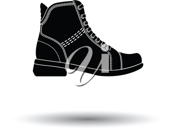Woman boot icon. White background with shadow design. Vector illustration.