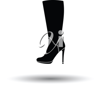 Autumn woman high heel boot icon. White background with shadow design. Vector illustration.