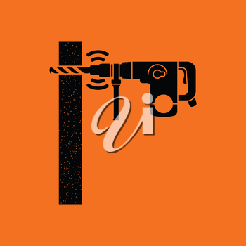 Icon of perforator drilling wall. Orange background with black. Vector illustration.
