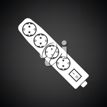 Electric extension icon. Black background with white. Vector illustration.