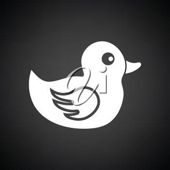 Bath duck icon. Black background with white. Vector illustration.