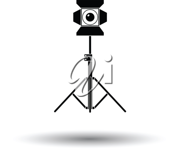 Stage projector icon. White background with shadow design. Vector illustration.