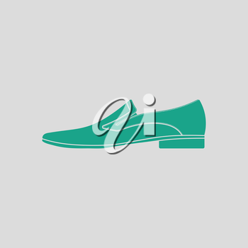 Man shoe icon. Gray background with green. Vector illustration.