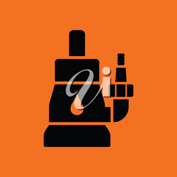 Submersible water pump icon. Orange background with black. Vector illustration.