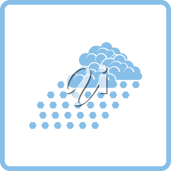 Hail icon. Blue frame design. Vector illustration.
