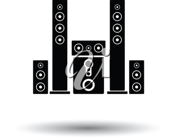 Audio system speakers icon. White background with shadow design. Vector illustration.
