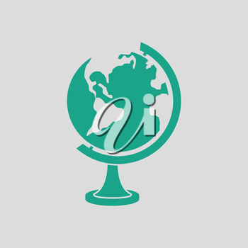 Globe icon. Gray background with green. Vector illustration.
