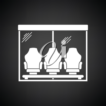 Soccer player's bench icon. Black background with white. Vector illustration.