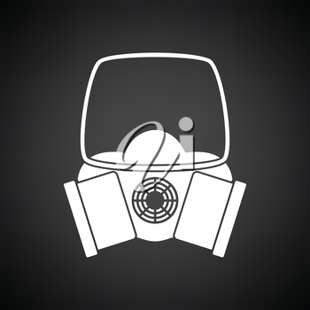 Icon of chemistry gas mask. Black background with white. Vector illustration.
