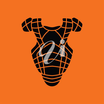 Baseball chest protector icon. Orange background with black. Vector illustration.