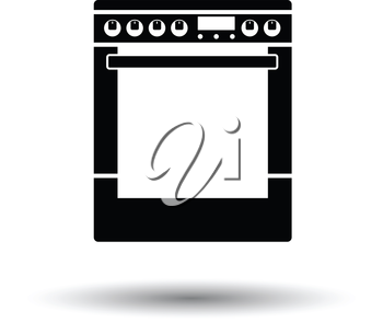 Kitchen main stove unit icon. White background with shadow design. Vector illustration.
