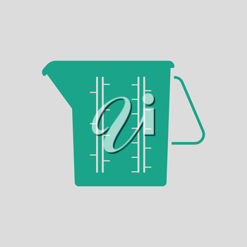 Measure glass icon. Gray background with green. Vector illustration.