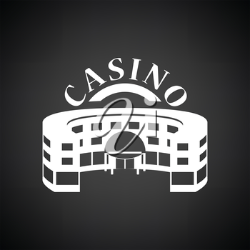 Casino building icon. Black background with white. Vector illustration.