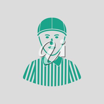 American football referee icon. Gray background with green. Vector illustration.