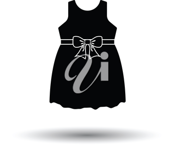 Baby girl dress icon. White background with shadow design. Vector illustration.