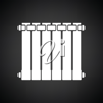 Icon of Radiator. Black background with white. Vector illustration.