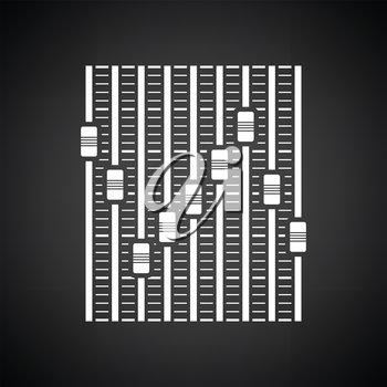 Music equalizer icon. Black background with white. Vector illustration.