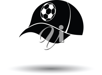 Football fans cap icon. White background with shadow design. Vector illustration.