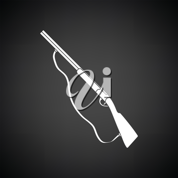 Hunting gun icon. Black background with white. Vector illustration.