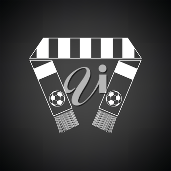 Football fans scarf icon. Black background with white. Vector illustration.