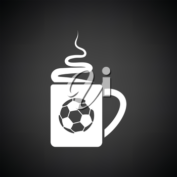 Football fans coffee cup with smoke icon. Black background with white. Vector illustration.