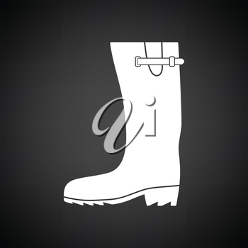 Rubber boot icon. Black background with white. Vector illustration.