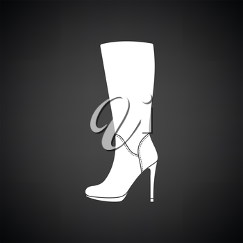 Autumn woman high heel boot icon. Black background with white. Vector illustration.