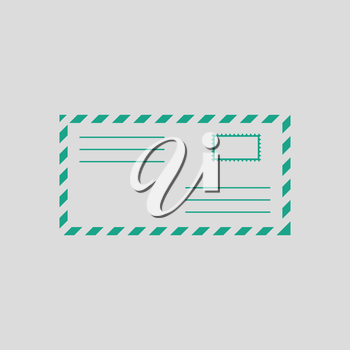 Letter icon. Gray background with green. Vector illustration.