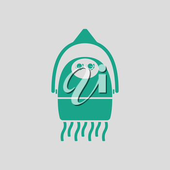 Hairdryer icon. Gray background with green. Vector illustration.