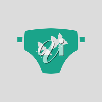Diaper ico. Gray background with green. Vector illustration.