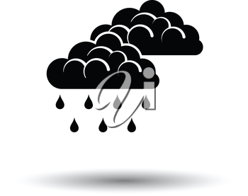 Rain icon. White background with shadow design. Vector illustration.
