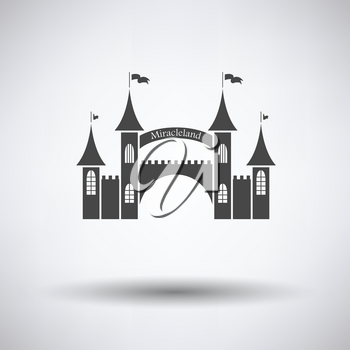 Amusement park entrance icon on gray background, round shadow. Vector illustration.