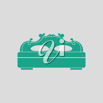 King-size bed icon. Gray background with green. Vector illustration.
