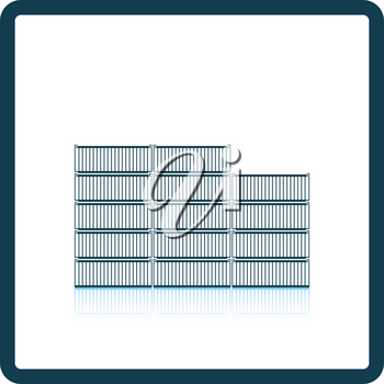 Container stack icon. Shadow reflection design. Vector illustration.